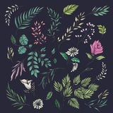Floral and leaf summer pattern stock illustration