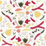 Floral leaves colorful seamless pattern in hand drawn style. stock illustration