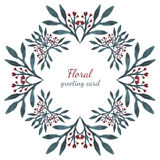 Floral leaves and flowers hearts, drawing vector frame watercolor. Design for invitation, wedding or greeting cards. Royalty Free Stock Image