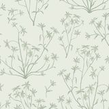 Floral leaves seamless pattern. Wild nature background. Flourish. Floral leaves seamless pattern. Wild nature retro background. Flourish wallpaper with plants stock illustration