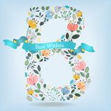 Floral Letter B with blue ribbon Royalty Free Stock Images