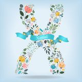 Floral Letter X with blue ribbon Royalty Free Stock Photography