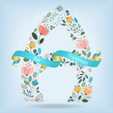 Floral Letter A with blue ribbon Stock Image