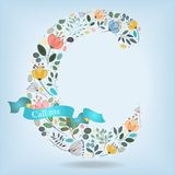 Floral Letter C with blue ribbon Stock Photography