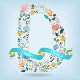 Floral Letter D with blue ribbon Royalty Free Stock Photos
