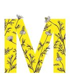 Yellow letter M with camomile flowers. Floral letter design with hand-drawn camomile flowers. For more letters in this style check my portfolio Royalty Free Stock Photo