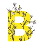 Yellow letter B with camomile flowers. Floral letter design with hand-drawn camomile flowers Stock Photography