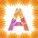 Floral Letter A design template. Mother's Das flower logo type design concept of Abstract alphabet logo. Floral Letter A conceptual design template for stock photography