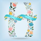 Floral Letter H with blue ribbon Royalty Free Stock Image
