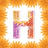 Floral Letter H design template. Mother's Das flower logo type design concept of Abstract alphabet logo. Floral Letter H conceptual design template for royalty free stock photos