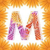 Floral Letter M design template. Mother's Das flower logo type design concept of Abstract alphabet logo. Floral Letter M conceptual design template for royalty free stock photography