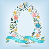 Floral Letter O with blue ribbon. Floral Letter O. Watercolor graceful flowers, plants and blurs. Blue ribbon with golden back and white text Octoroon Royalty Free Stock Images