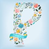 Floral Letter P with blue ribbon Royalty Free Stock Image
