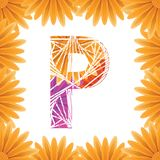 Floral Letter P design template. Mother's Das flower logo type design concept of Abstract alphabet logo. Floral Letter P conceptual design template for royalty free stock images