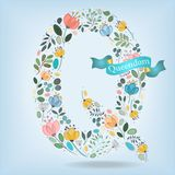 Floral Letter Q with blue ribbon Royalty Free Stock Photos