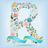 Floral Letter R with blue ribbon Royalty Free Stock Images