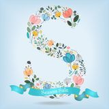 Floral Letter S with blue ribbon royalty free stock image