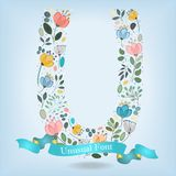 Floral Letter U with blue ribbon Royalty Free Stock Photo