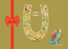 Floral Letter U. Bow. Pearl Collar. Best Wishes stock image