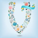 Floral Letter V with blue ribbon Royalty Free Stock Photo