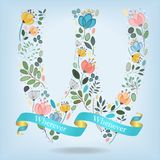 Floral Letter W with blue ribbon Royalty Free Stock Photography