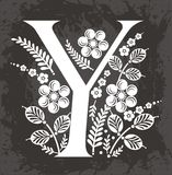 Floral letter Y  Royalty Free Stock Image