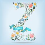 Floral Letter Z with blue ribbon Royalty Free Stock Photo