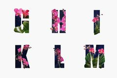 Floral letters made from orchid flowers isolated on white royalty free stock photo