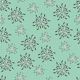Floral light green background of stylized contour colors or snowflakes. vector illustration