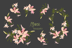 Floral lily retro vintage background Royalty Free Stock Photos