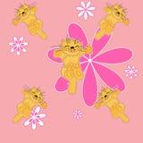 Floral lindo y animal doméstico. fondo inconsútil Fotografía de archivo libre de regalías