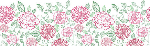 Floral line art horizontal seamless pattern Stock Photography