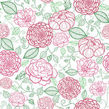 Floral line art seamless pattern background. Vector floral line art seamless pattern with hand drawn flowers on white background stock illustration
