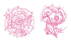 Floral Line Designs. Flower designs initially created in ink, then vectorized Royalty Free Stock Images