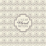 Floral linear pattern and monoline frame. Template with ornamental texture and badge, frame for logo, greeting cards Royalty Free Stock Images