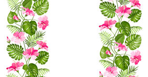 Floral linear tile design Royalty Free Stock Images