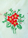 Floral linen fabric Royalty Free Stock Photo