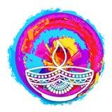 Floral Lit Lamp for Happy Diwali celebration. Stock Images