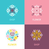 Floral logo design element Stock Photo