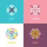 Floral logo design element royalty free illustration