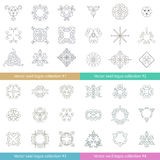 Floral logos collection. Big set of vector swirl elements for design. Stock Photos