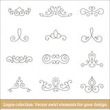 Floral logos collection. Swirl elements for design. Thin line. Floral logos collection. Vector swirl elements for design. Thin line Royalty Free Stock Images