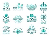 Floral logotypes for beauty and spa salon. Logo spa with floral flower. Vector illustration Stock Photos