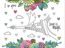 Floral love background with eiffel tower vector Royalty Free Stock Photos