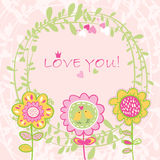Floral Love background. Vector illustration Royalty Free Stock Images