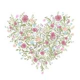Floral love bouquet for your design, heart shape Stock Photo
