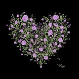 Floral love bouquet for your design, heart shape Royalty Free Stock Photos