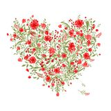 Floral love bouquet for your design, heart shape Royalty Free Stock Images