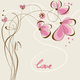Floral love card Royalty Free Stock Image