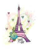 Floral love card design with eiffel tower vector Royalty Free Stock Image